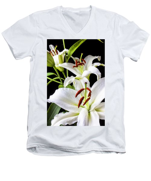 Three White Lilies Men's V-Neck T-Shirt by Garry Gay