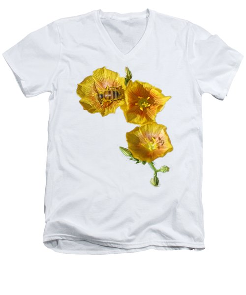Three Yellow Flowers With A Bee Men's V-Neck T-Shirt by Linda Phelps