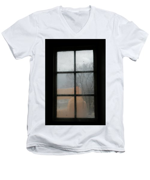 Men's V-Neck T-Shirt featuring the photograph Through A Museum Window by Marilyn Hunt