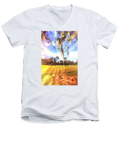 Men's V-Neck T-Shirt featuring the painting Through The Moss by Annette Berglund