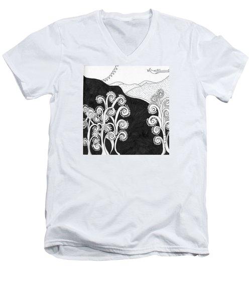 Through The Woods Men's V-Neck T-Shirt by Lou Belcher