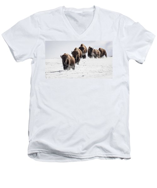 Thunderbeast Men's V-Neck T-Shirt by Jack Bell