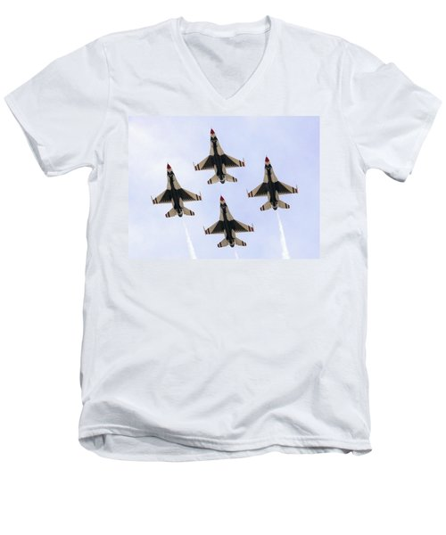 Thunderbirds Away Men's V-Neck T-Shirt by Kevin Fortier