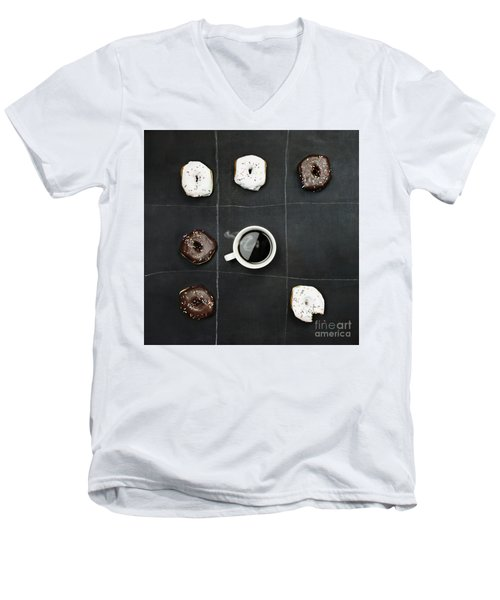 Men's V-Neck T-Shirt featuring the photograph Tic Tac Toe Donuts And Coffee by Stephanie Frey