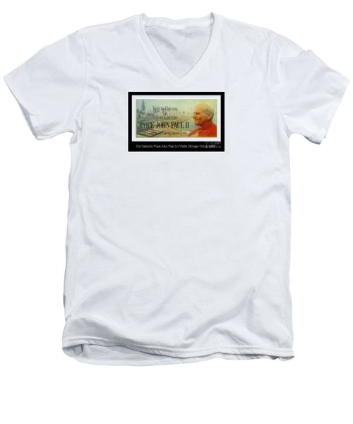 Men's V-Neck T-Shirt featuring the photograph Ticket To Pope John Paul In Chicago 1979 by Sherri  Of Palm Springs