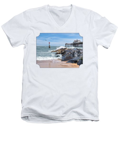Tide's Turning - Southwold Pier Men's V-Neck T-Shirt by Gill Billington