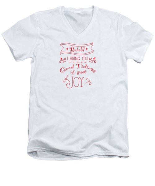 Tidings Of Great Joy Red By Jan Marvin Men's V-Neck T-Shirt