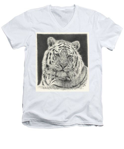 Tiger Drawing Men's V-Neck T-Shirt