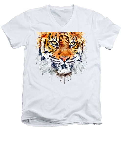 Men's V-Neck T-Shirt featuring the mixed media Tiger Face Close-up by Marian Voicu