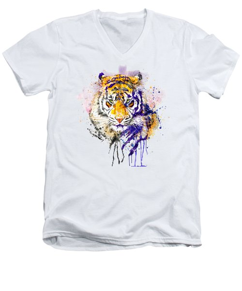 Tiger Head Portrait Men's V-Neck T-Shirt
