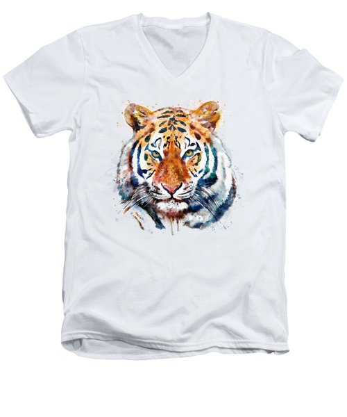 Tiger Head Watercolor Men's V-Neck T-Shirt by Marian Voicu