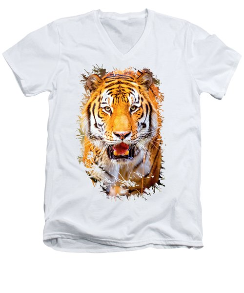 Tiger On The Hunt Men's V-Neck T-Shirt