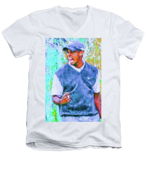 Men's V-Neck T-Shirt featuring the photograph Tiger One Two Three Painting Digital Golfer by David Haskett