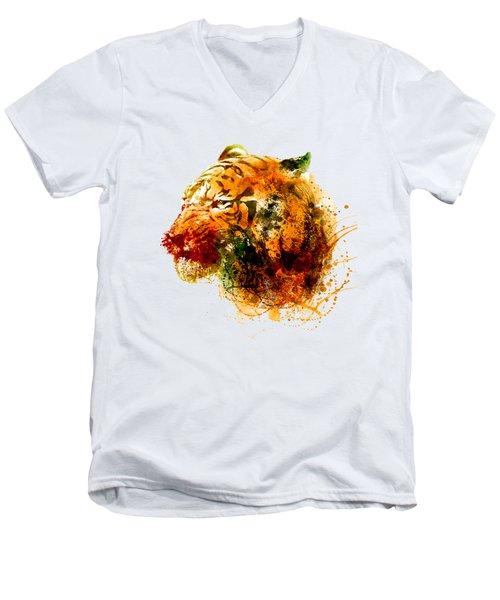 Tiger Side Face Men's V-Neck T-Shirt by Marian Voicu