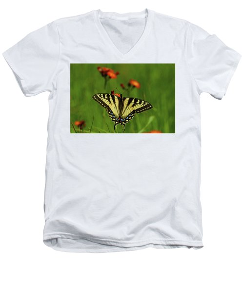 Tiger Swallowtail Butterfly Men's V-Neck T-Shirt by Nancy Landry