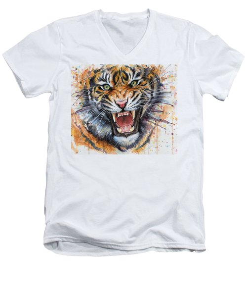 Tiger Watercolor Portrait Men's V-Neck T-Shirt by Olga Shvartsur