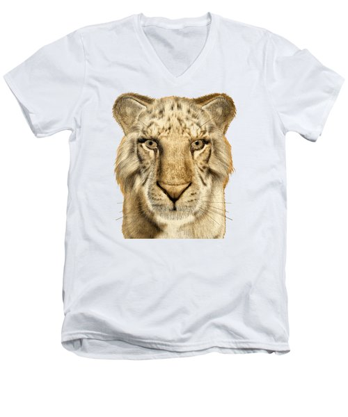 Men's V-Neck T-Shirt featuring the painting Tigers by Methune Hively