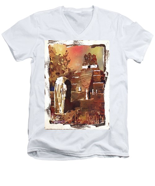 Men's V-Neck T-Shirt featuring the painting Tikal Mayan Ruins- Guatemala by Ryan Fox