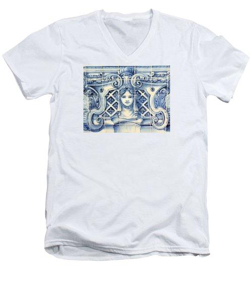 Tile Art In Fort Of Luanda, Angola Men's V-Neck T-Shirt by John Potts