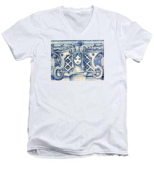Tile Art In Fort Of Luanda, Angola Men's V-Neck T-Shirt