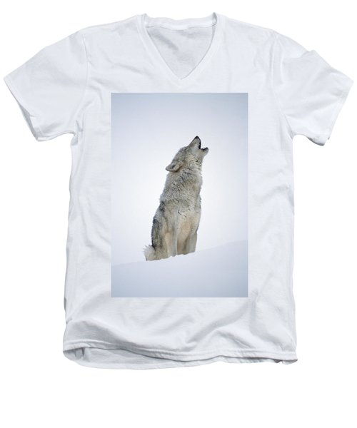 Timber Wolf Portrait Howling In Snow Men's V-Neck T-Shirt