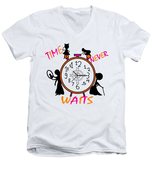Time Never Waits Men's V-Neck T-Shirt
