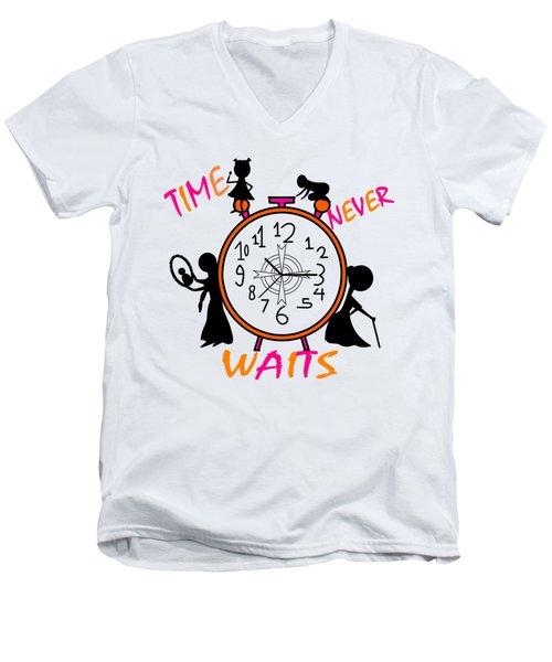 Time Never Waits Men's V-Neck T-Shirt