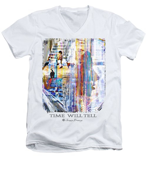 Time Will Tell Men's V-Neck T-Shirt by Jennie Breeze