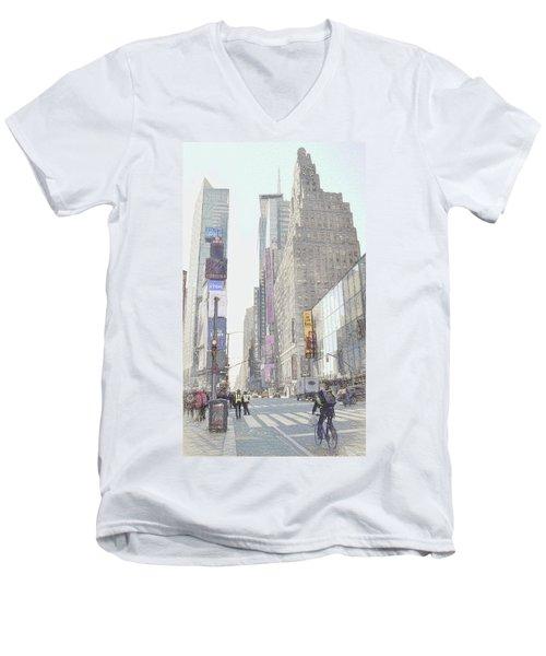 Times Square Street Scene Men's V-Neck T-Shirt