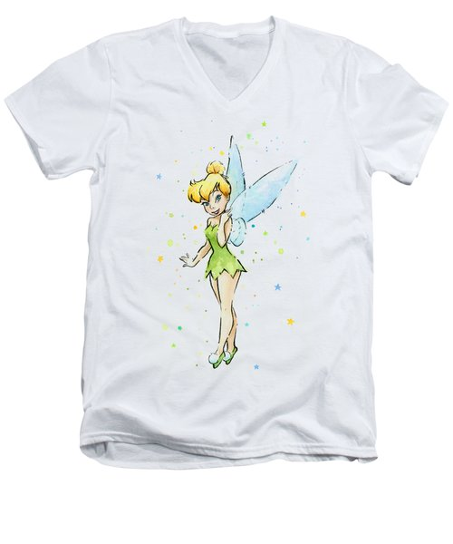 Tinker Bell Men's V-Neck T-Shirt by Olga Shvartsur