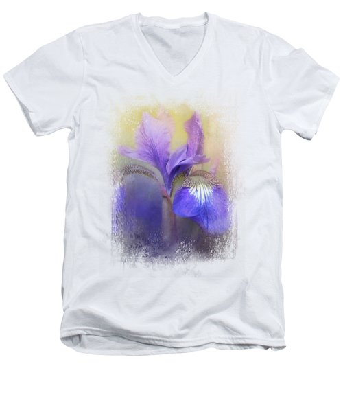 Tiny Iris Men's V-Neck T-Shirt by Jai Johnson