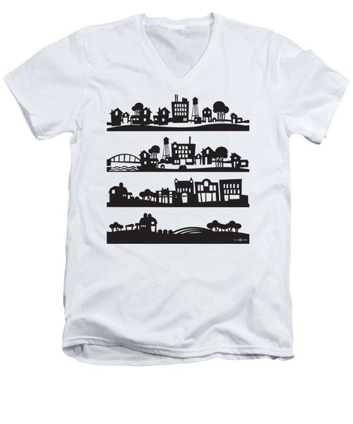 Tinytown Stacked Men's V-Neck T-Shirt