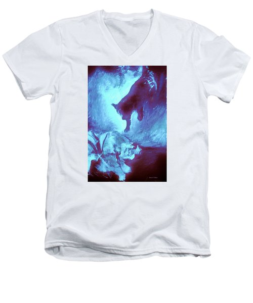 Men's V-Neck T-Shirt featuring the painting Tip Toeing On Little Cat Feet by Denise Fulmer