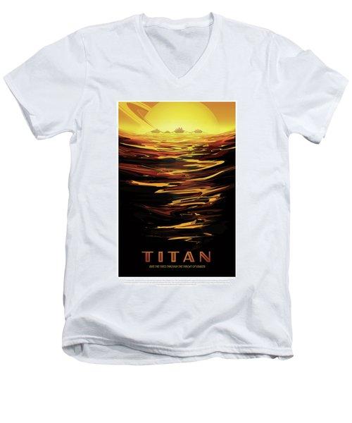 Titan - Ride The Tides Through The Throat Of Kraken - Vintage Na Men's V-Neck T-Shirt