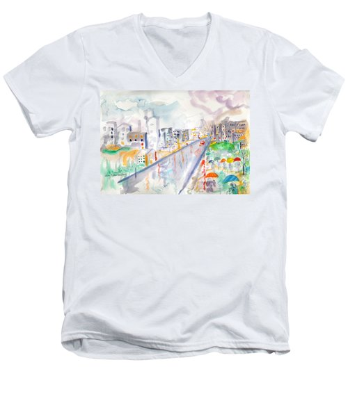 To The Wet City Men's V-Neck T-Shirt by Mary Armstrong