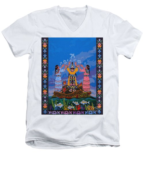 Men's V-Neck T-Shirt featuring the painting Together We Over Come Obstacles by Chholing Taha