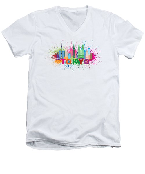 Tokyo City Skyline Paint Splatter Illustration Men's V-Neck T-Shirt by Jit Lim