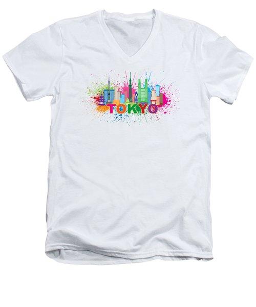 Tokyo City Skyline Paint Splatter Illustration Men's V-Neck T-Shirt
