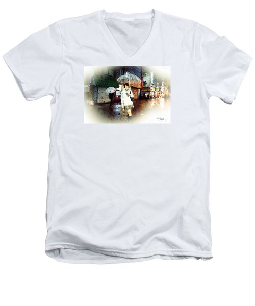 Men's V-Neck T-Shirt featuring the painting Rainytokyo Night by Chris Armytage