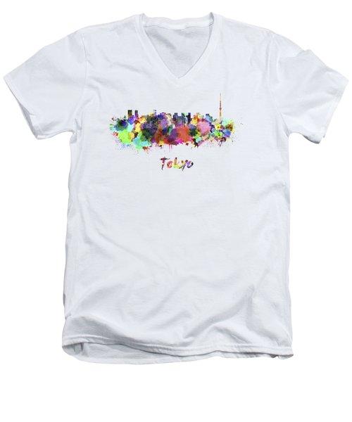 Tokyo V2 Skyline In Watercolor Men's V-Neck T-Shirt by Pablo Romero