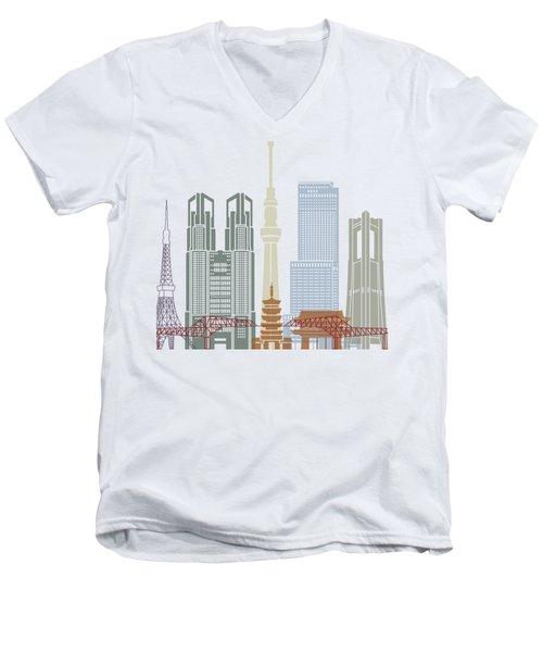 Tokyo V2 Skyline Poster Men's V-Neck T-Shirt