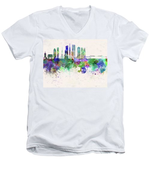 Tokyo V3 Skyline In Watercolor Background Men's V-Neck T-Shirt by Pablo Romero