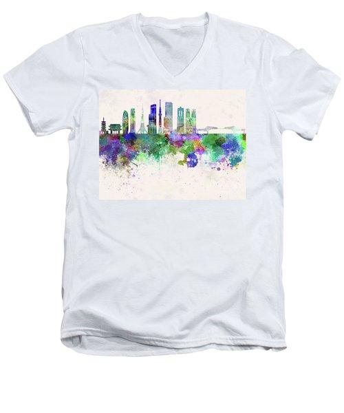 Tokyo V3 Skyline In Watercolor Background Men's V-Neck T-Shirt by Pablo Romero