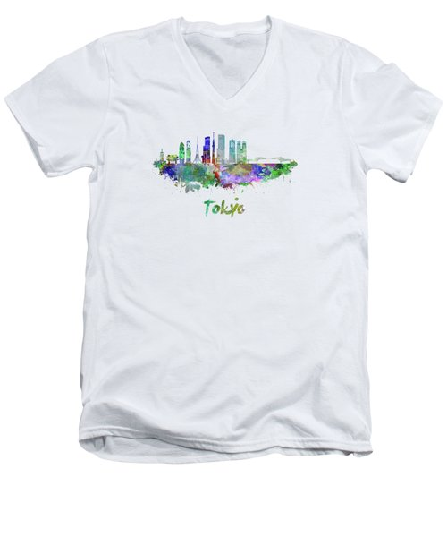 Tokyo V3 Skyline In Watercolor Men's V-Neck T-Shirt by Pablo Romero