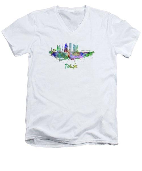 Tokyo V3 Skyline In Watercolor Men's V-Neck T-Shirt by Pablo Romero