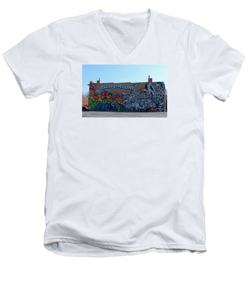 Men's V-Neck T-Shirt featuring the photograph Toledo Loves Love by Michiale Schneider