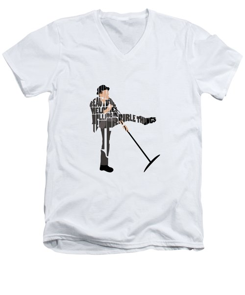 Tom Waits Typography Art Men's V-Neck T-Shirt
