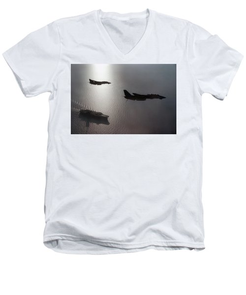 Men's V-Neck T-Shirt featuring the photograph Tomcat Silhouette  by Peter Chilelli