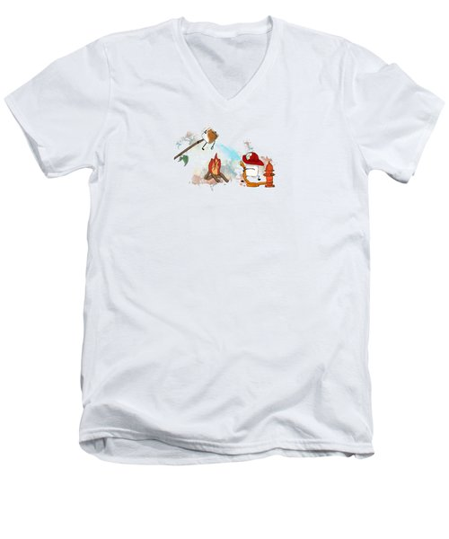 Too Toasted Illustrated Men's V-Neck T-Shirt by Heather Applegate