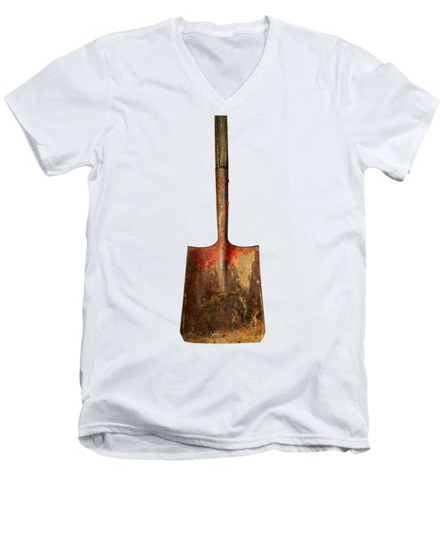 Men's V-Neck T-Shirt featuring the photograph Tools On Wood 2 On Bw by YoPedro